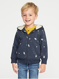 Printed Sherpa-Lined Zip Hoodie for Toddler Boys