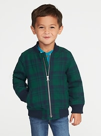 Sherpa-Lined Plaid Flannel Bomber Jacket for Toddler Boys