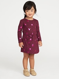 Foil Star-Print Jersey Dress for Toddler Girls