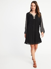 Embroidered Crinkle-Gauze Swing Dress for Women