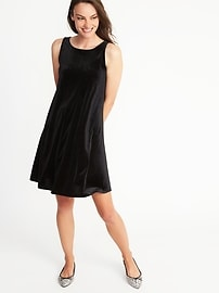 Velvet-Knit Swing Dress for Women
