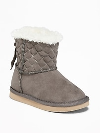 Quilted Faux-Suede Adoraboots for Toddler Girls
