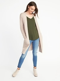 Luxe Super-Long Open-Front Cardi for Women