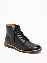 Faux-Leather Lace-Up Boots for Men