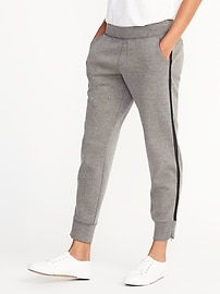 Mid-Rise Slim Heathered-Stripe Track Pants for Women