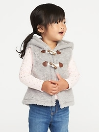 Hooded Toggle-Button Vest for Toddler Girls