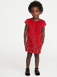 Floral Bow-Back Velvet Dress for Toddler Girls