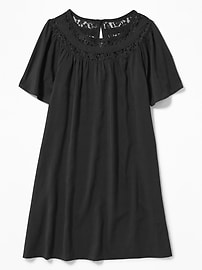 Lace-Trim Swing Dress for Girls