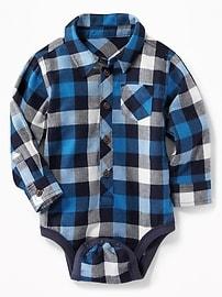 Cache-couche avec chemise en sergé à carreaux pour bébé