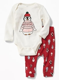 Holiday-Graphic Bodysuit & Patterned Pants Set for Baby