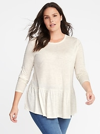 Relaxed Plus-Size Peplum-Hem Sparkle Top