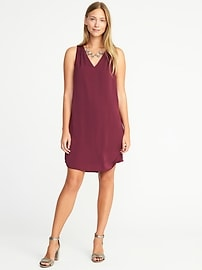 Sleeveless Bow-Back Shift Dress for Women