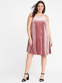 Plus-Size Velvet Swing Dress