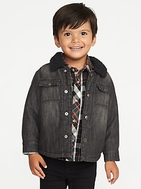 Sherpa-Lined Denim Shirt-Jacket for Toddler Boys