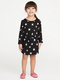 Robe en jersey à imprimé d'étoiles argentées pour toute-petite fille