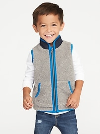 Fuzzy Sherpa Zip Vest for Toddler Boys