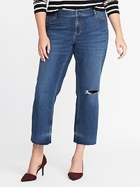Distressed Plus-Size Crop-Flare Jeans