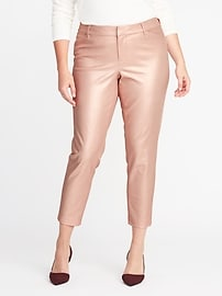 Smooth & Slim Mid-Rise Plus-Size Metallic Pixie Pants