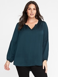 Relaxed Shirred Satin Blouse