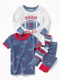 Football-Graphic 4-Piece Sleep Set for Toddler & Baby