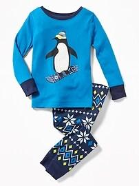 Pyjama à motif de pingouins en planche à neige pour tout-petit et bébé