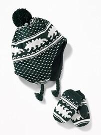 Patterned Trapper Hat & Mittens Set for Toddler Boys