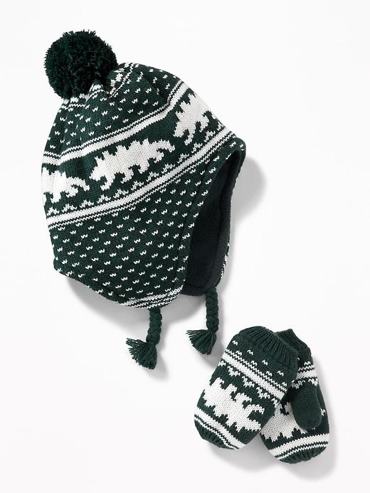 Patterned Trapper Hat Amp Mittens Set For Toddler Boys Old