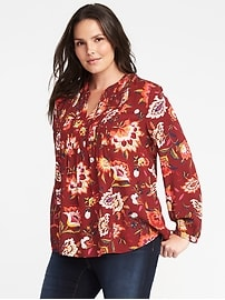 Plus-Size Pintuck Swing Blouse