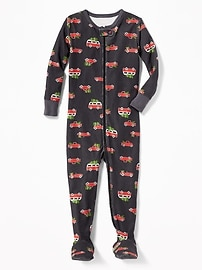 Christmas Car-Print Footed One-Piece Sleeper for Toddler & Baby