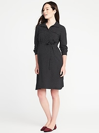 Maternity Patterned Shirt Dress