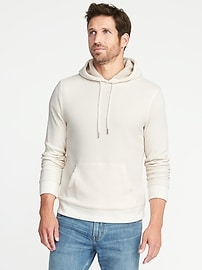 Thick Waffle-Knit Sherpa-Lined Hoodie for Men