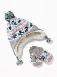 Patterned Trapper Hat & Mittens Set for Toddler Girls