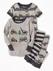 Pyjama 4pièces à motifs de construction pour tout-petit et bébé