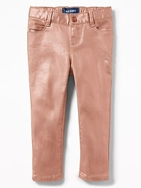 Metallic-Coated Ballerina Skinny Jeans for Toddler Girls