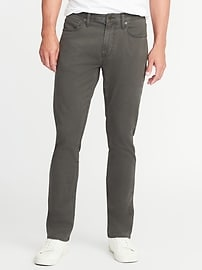 Slim Built-In Flex Five-Pocket Brushed-Twill Pants for Men