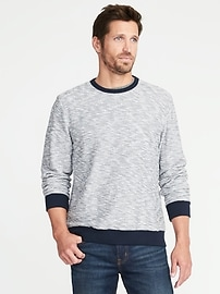 Textured-Terry Crew Neck Sweater for Men