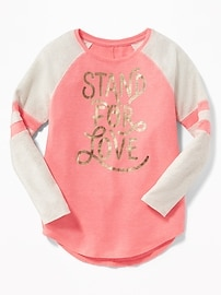 Graphic Thermal Baseball-Style Top for Girls