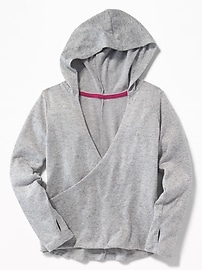 Wrap-Front Sweater-Knit Hoodie for Girls