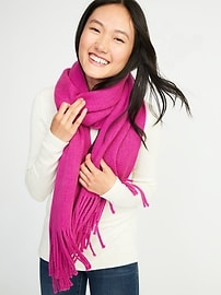 Solid Fringe Scarf for Women
