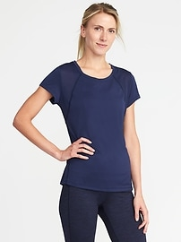 Semi-Fitted Mesh Running Tee for Women