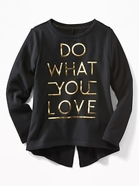 Split-Back Graphic Sweatshirt for Girls