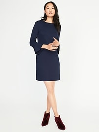 Ponte-Knit Flute-Sleeve Shift Dress for Women