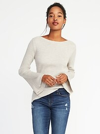 Rib-Knit Bell-Sleeve Sweater for Women