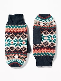 Patterned Sweater-Knit Mittens for Women