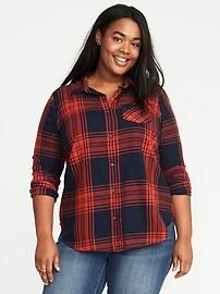 Chemise à carreaux classique, taille Plus