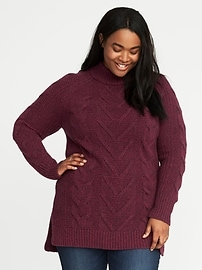 Cable-Knit Plus-Size Tunic Sweater