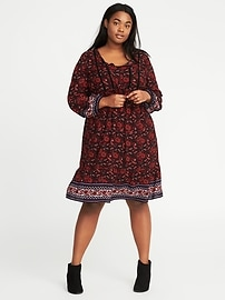 Plus-Size Tie-Waist Swing Dress