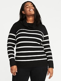 Brushed Striped Plus-Size Turtleneck Sweater