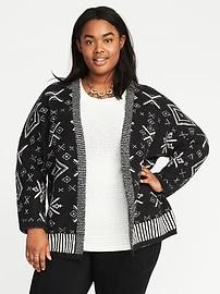 Manteau-cardigan à motifs, taille Plus