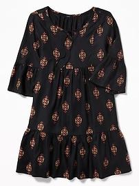 Robe évasée à col écharpe de style bohémien pour fille